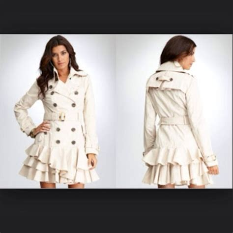 Who Wore It Better Couture Plaid Ruffle Coat by 53 Bebe Outerwear Bebe Ruffle Bottom Trench