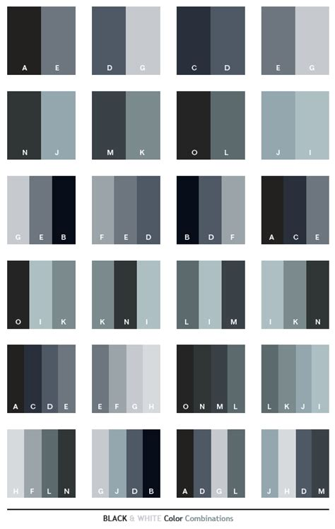 black white color schemes color combinations color palettes for print cmyk and web rgb