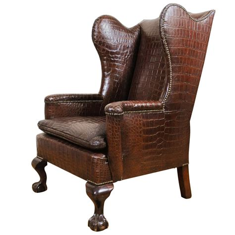 Best Leather Recliner Sofa by A Very Unusual And Chic Crocodile Upholstered Wing Chair