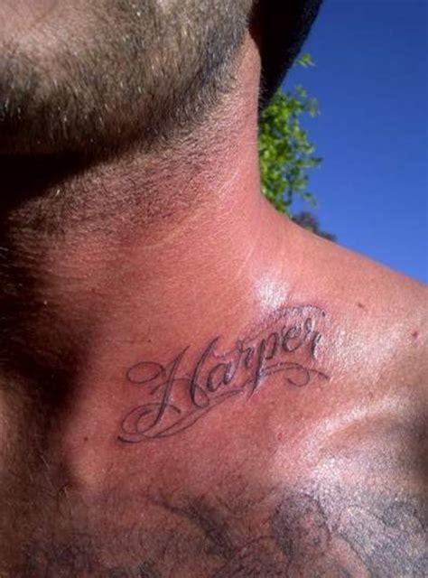 beckham tattoo text 27 exles of collar bone tattoos for guys
