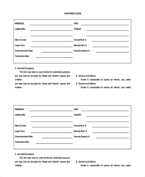 19 Apartment Rental Agreement Templates Free Sle Exle Format Download Free Premium Apartment Lease Contract Template