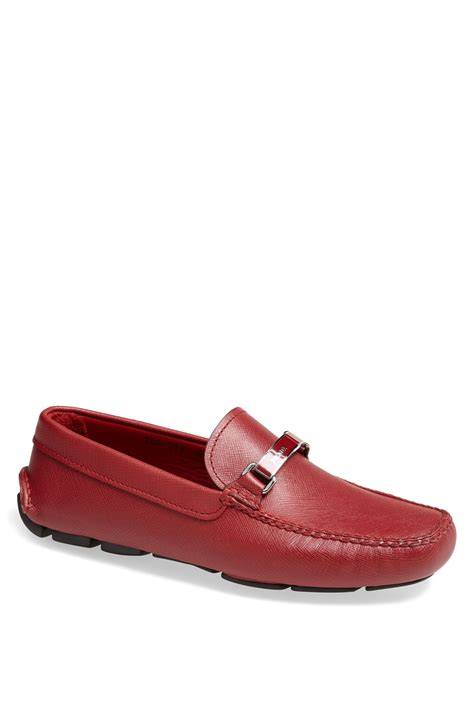 prada driving shoes prada saffiano leather driving shoe in for lyst
