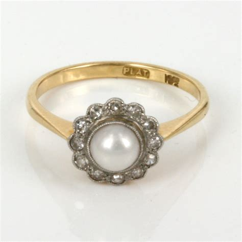 vintage engagement rings with pearls www imgkid