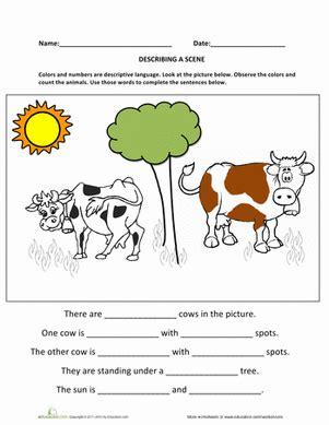 describing a writing sentences worksheets and