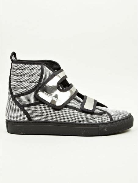 velcro sneakers mens raf simons mens velcro sneakers in gray for black lyst