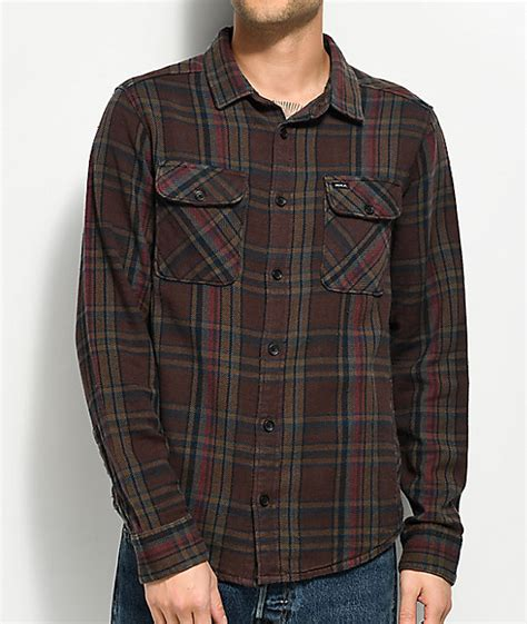 Kemeja Flannel Navy Brown rvca camino brown navy burgundy flannel shirt zumiez