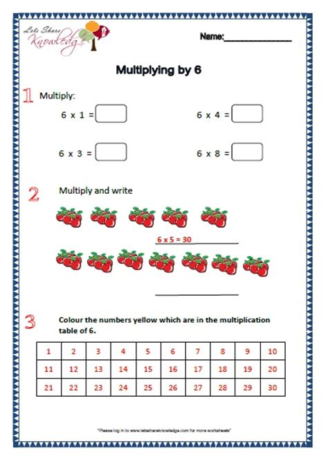 Multiply By 6 Worksheets by Grade 2 Maths Worksheets Part 1 2 More Topics Lets