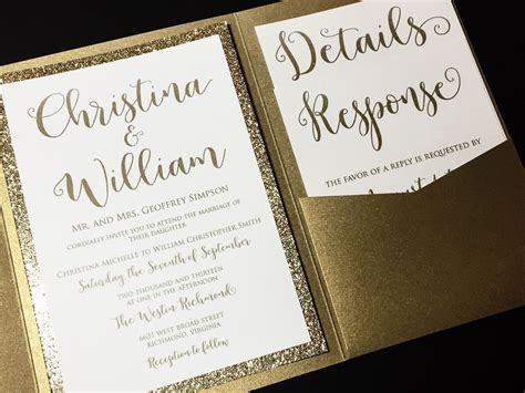 Pocketfold Wedding Invitations by Glitter Wedding Invitation Pocketfold Wedding Invitation