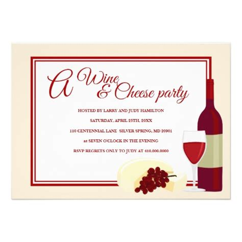 wine cheese party invitations 5 quot x 7 quot invitation card