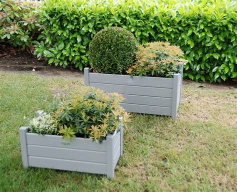 Gray Outdoor Planters Wooden Rectangle Planters Set Of Two Grey By Garden