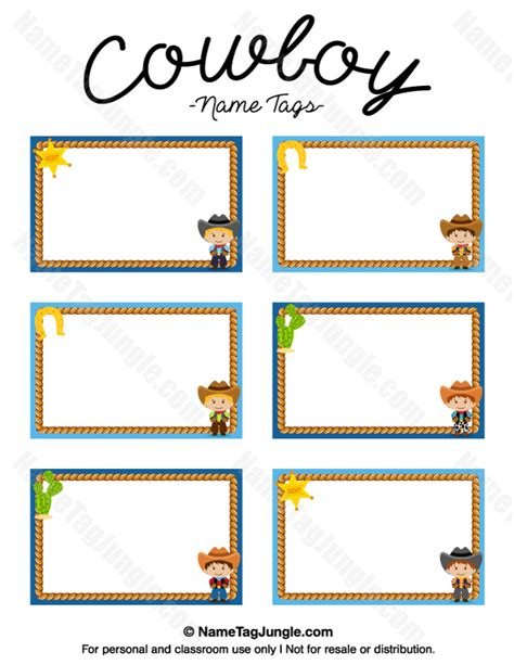 free template for labels for cards western printable cowboy name tags