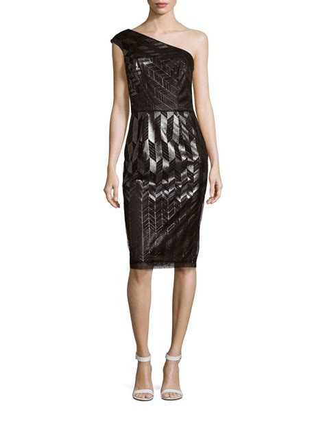 Patterned One Shoulder Dress david meister patterned one shoulder dress in black lyst