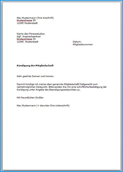 Anschreiben Bewerbung Aushilfe Fitnebstudio 6 Vorlage K 252 Ndigung Fitnessstudio Rechnungsvorlage