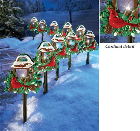 christmas cardinal lantern path lights set of 10 from