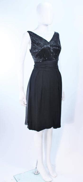 Sale 20172 Black Chiffon Retro vintage 1960 s black beaded silk chiffon cocktail dress