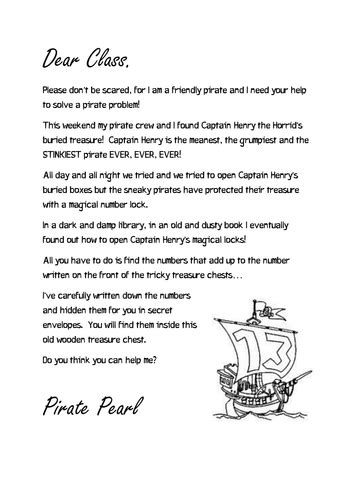 thank you letter exles ks1 pirate pearls number bonds by plemon11 teaching