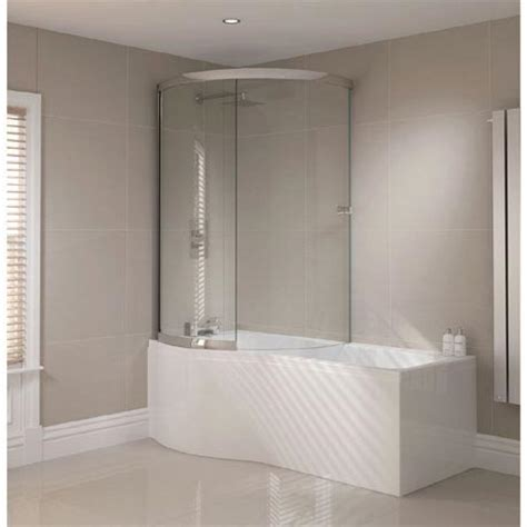 p shaped bath shower screen sommer p shaped shower bath 1700mm inc sliding screen and acrylic front panel