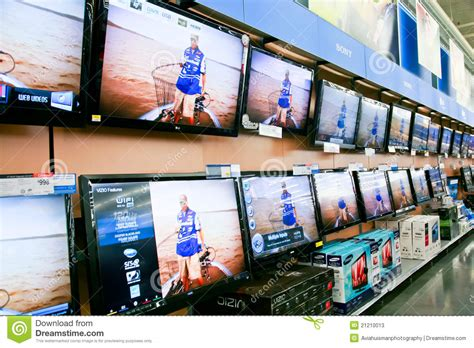 walmart tv section wall of televisions at store editorial stock photo image