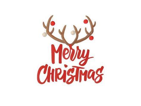 merry christmas card design  hand drawn text reindeer horns  christmas balls decoration