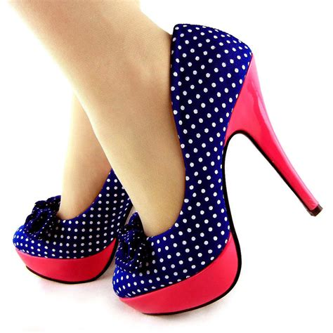 Mickey Green Polka Shoes Sz 26 30 polka dots bow platform stiletto high heels court shoes uk size 2 5 8 ebay