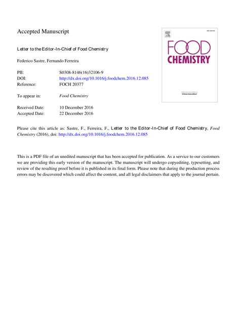 (PDF) Letter to the Editor-In-Chief of Food Chemistry