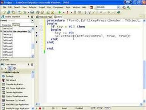 c tutorial for delphi programmers delphi programming tutorial 25 enter as tab youtube