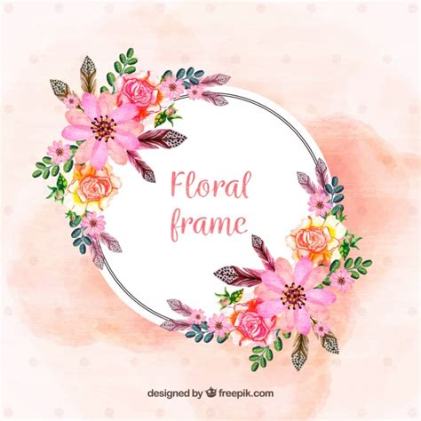 floral pictures floral frame with painted flowers vector free