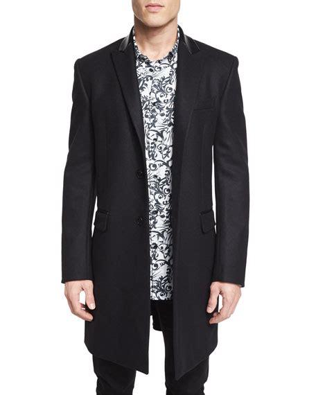 Beckham Button 1978 versace collection wool button top coat black