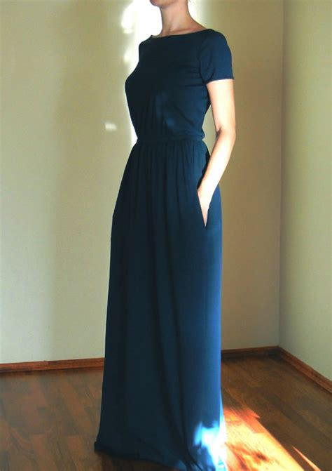 jersey knit summer dresses shopstyle cotton jersey knitnavy blue maxi dress with by atelierlenazh