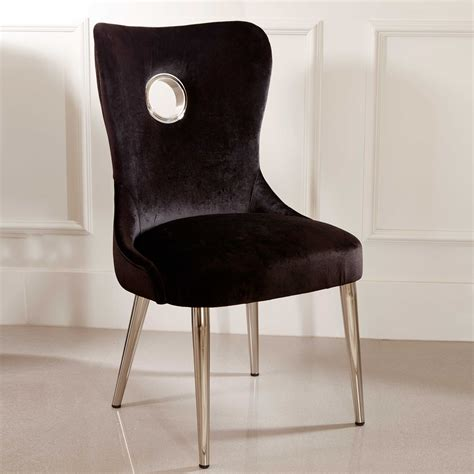 black velvet deco style dining chair