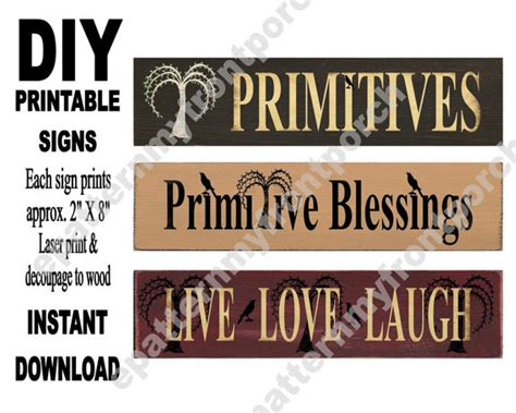 Decoupage Signs - printable signs sheet print decoupage to wood wooden