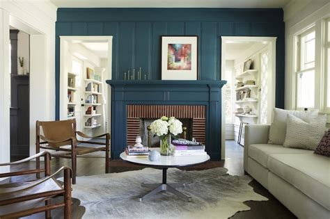 teal fireplace eclectic living room simo design