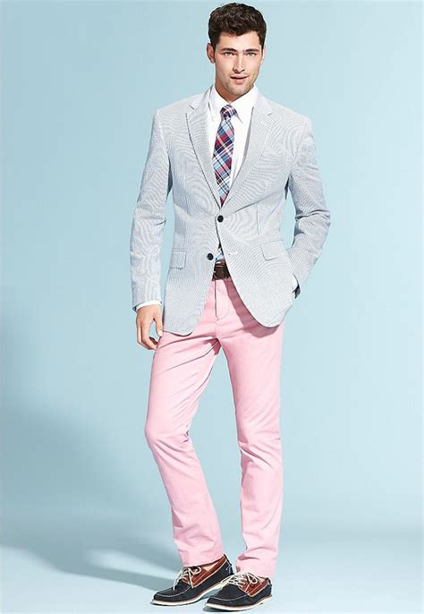 light pink chinos mens men s light blue seersucker blazer white dress shirt