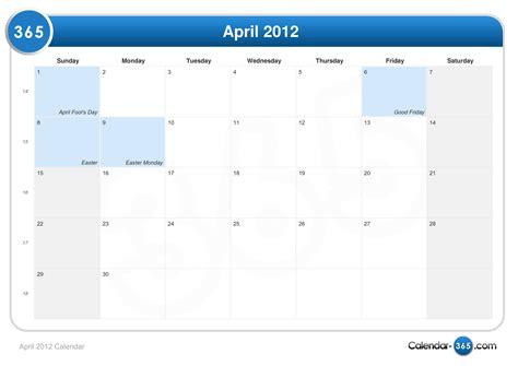 April 2012 Calendar April 2012 Calendar