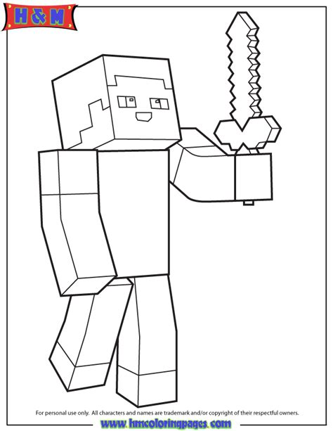 minecraft coloring pages foldable minecraft person holding sword coloring page gif 670 215 867