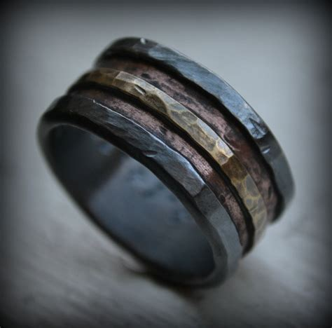 mens wedding band rustic silver copper and brass
