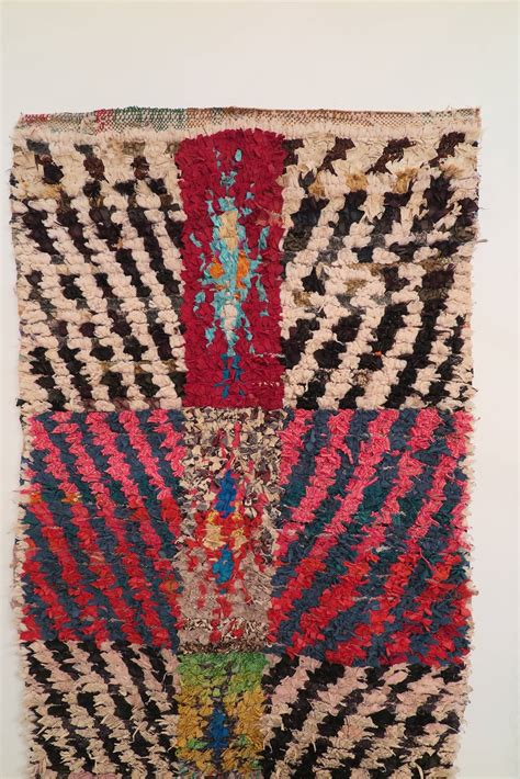 boucherouite rugs vintage berber knotted moroccan quot boucherouite quot rug at 1stdibs