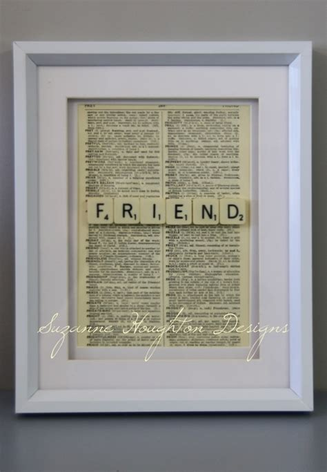 define scrabble quot friend quot scrabble tiles framed with a vintage dictionary