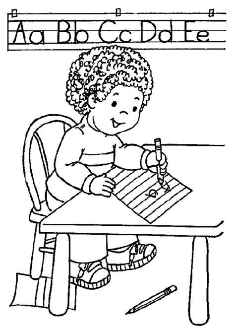 coloriage ecole la fille apprend l alphabet