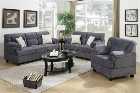 Sofa Sets by F7916 Sofa Loveseat Chair Set In Grey Fabric By Poundex