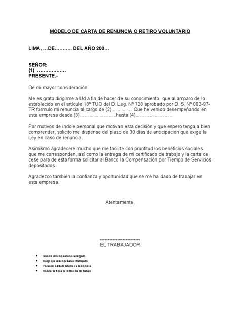 liquidacion renuncia voluntaria 2016 notizie24 modelo de carta de renuncia o retiro voluntario