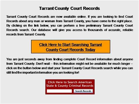 Tarrant County Court Records Tarrant County Court Records Authorstream