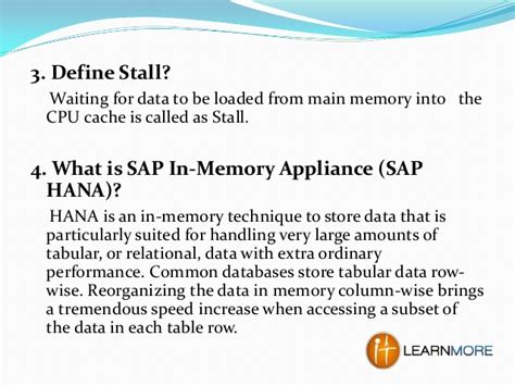 to stall definition sap hana questions