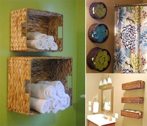 diy wall full of baskets bathroom storage idea diy craft home design wall baskets for bath towel storage home