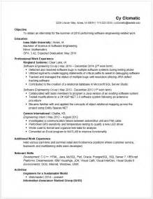 sle resume for co op student resume exles for undergraduate college students sles