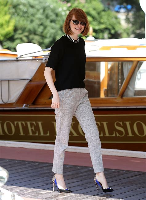 emma stone style emma stone in a lightweight knitted top vogue