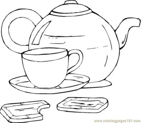 coloring pages cup of tea with chocolate food fruits