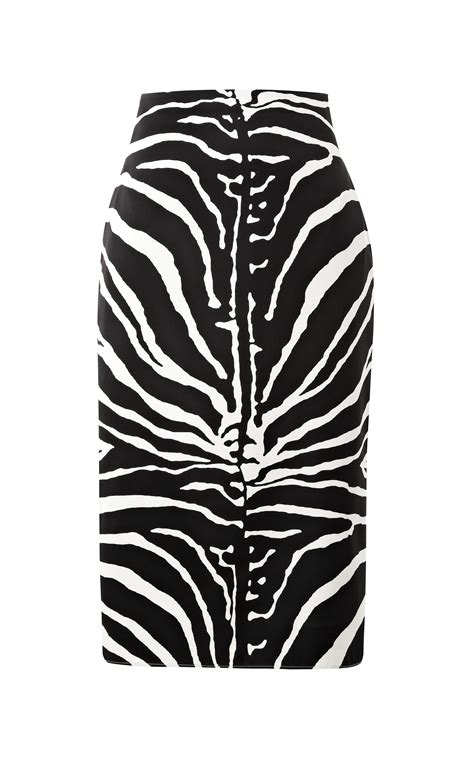 carven zebra print satin pencil skirt in black black