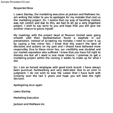 Apology Letter Of Behavior Apology Letter For Bad Behavior At Work Sle Templates
