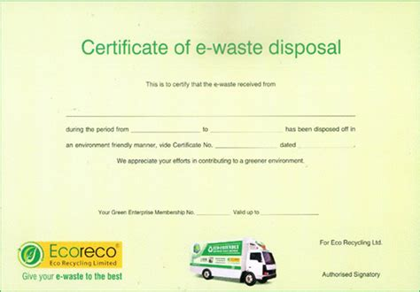 certificate of recycling template waste disposal certificate choice image cv